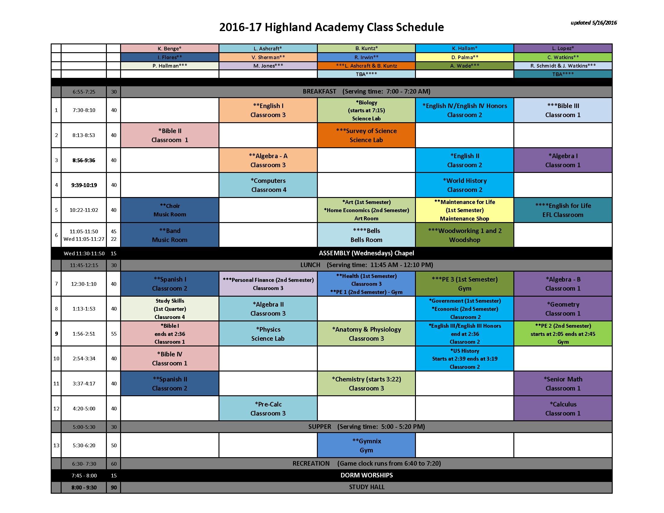 2016-17 Class Schedule