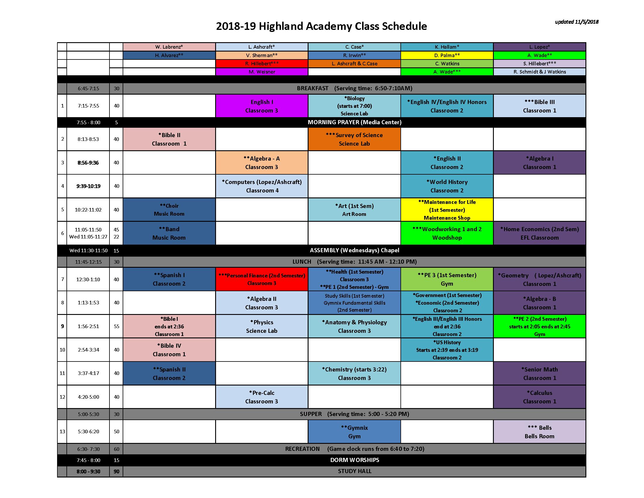 2017-18 Class Schedule